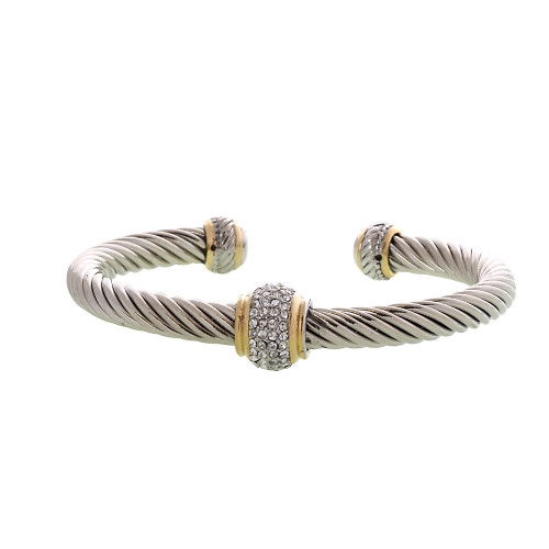 Twisted Steel Pave Bead Bracelet