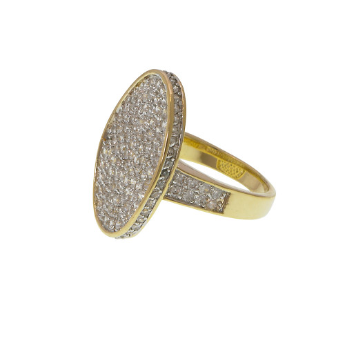 Gorgeous Oval Pave Ring Gold