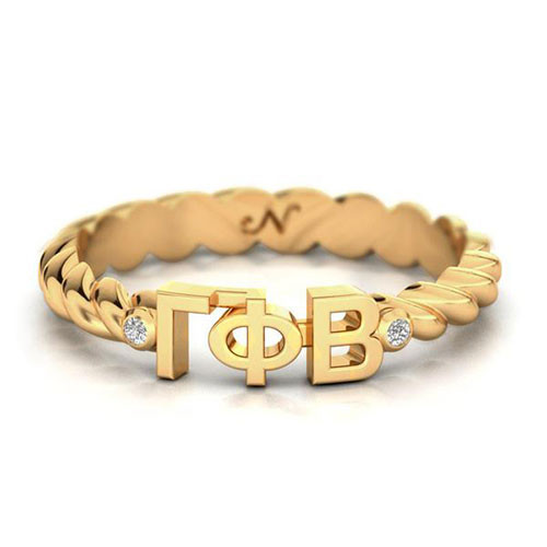Gamma Phi Beta Gold Pavå© Twist Letter Ring