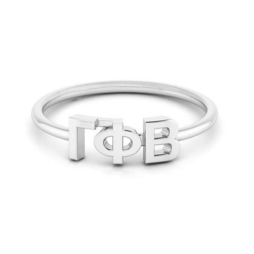 Gamma Phi Beta Silver Thin Band Letter Ring