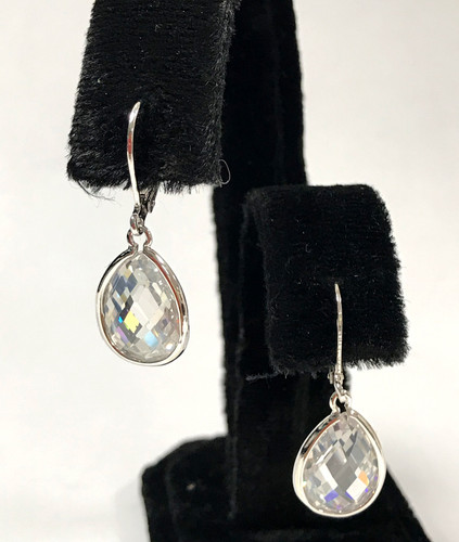 Faceted Bezel Teardrop Crystal Earrings