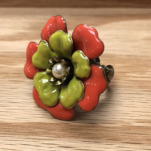 Coral Enameled Flower Ring