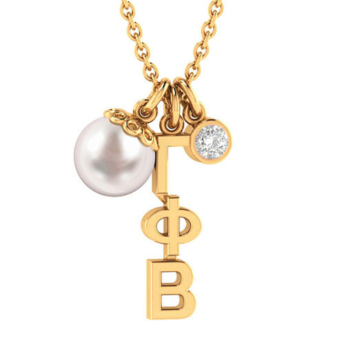 Gamma Phi Beta Gold Triple Charm Necklace