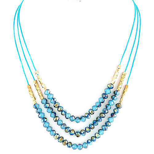 Layered Beaded Strands Necklace Blue