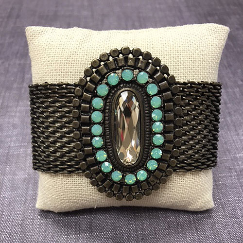 Antiqued Bronze Pacific Opal and Topaz Cuff