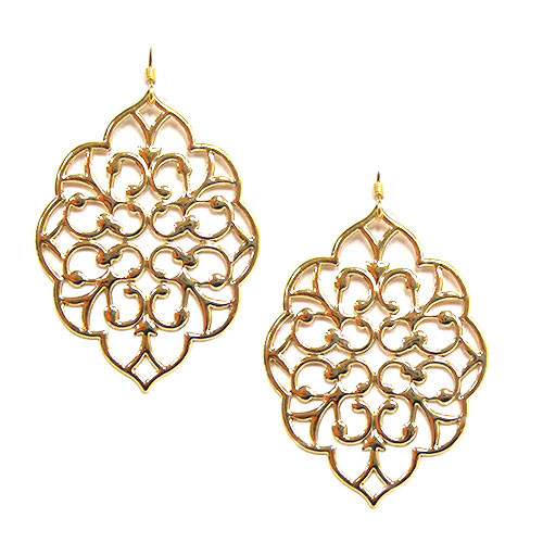 Polished Gold Filigree Motif Earring