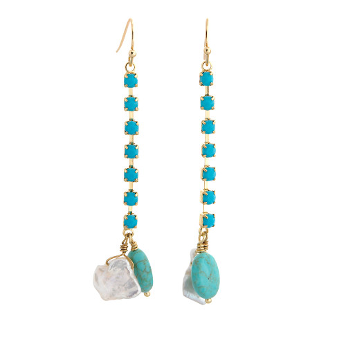 Turquoise and Freshwater Pearl Double Drops TQ