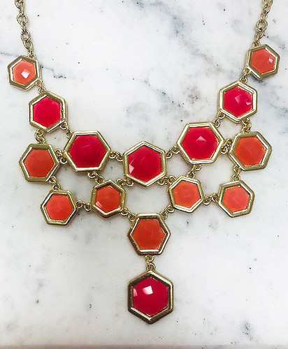 Fuchsia/Orange Hexagon Shaped Jeweled Necklace