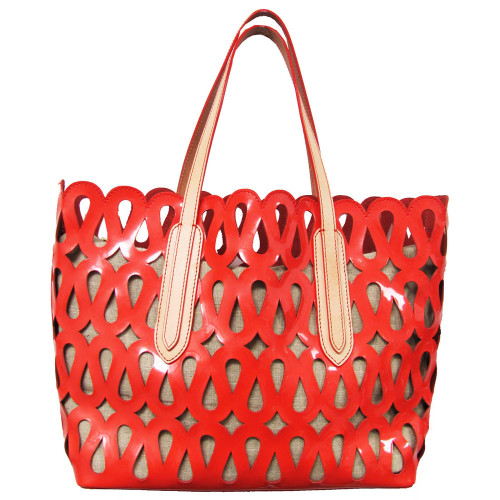 Coral Patent Perforated Tote