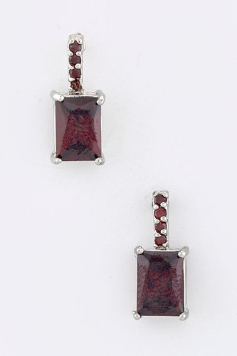 Ruby Red Rectangular Drops