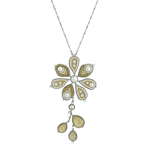 Long Neutral Cream Flower and Stem Necklace