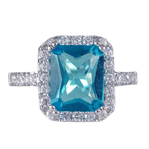 Aquamarine C.Z. Ring