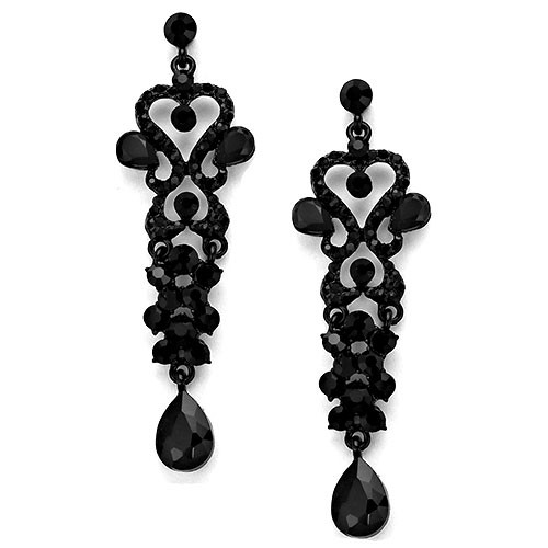Long Jet Black Crystal Earrings