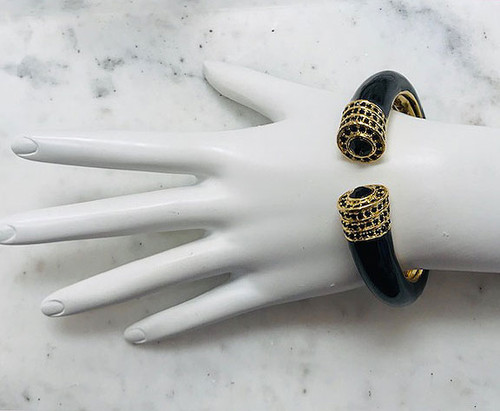 Black Crystal Hinged Cuff