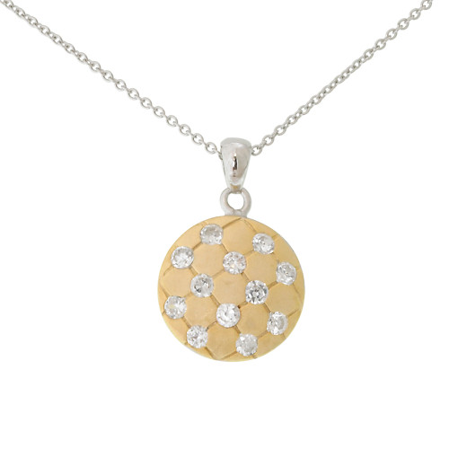 Petite Gold and Cubic Zirconia Pendant Necklace