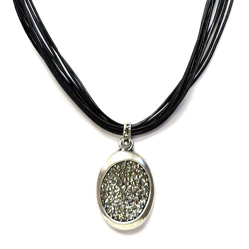 Pave and Pewter Necklace