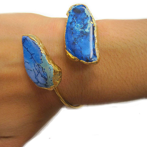 Charlene K's Natural Blue Jasper Double Open Bangle