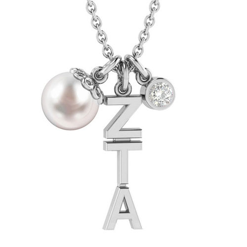 Zeta Tau Alpha Silver Triple Charm Necklace