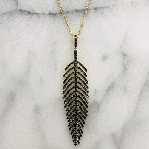Jet Black Crystal Leaf Pendant Necklace