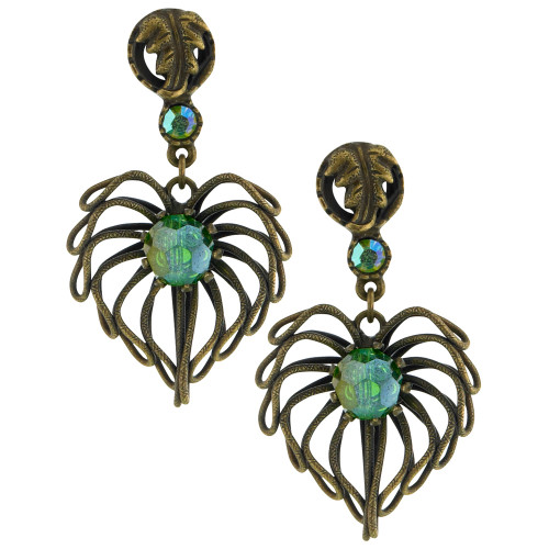 Leaf Dangle Earring with Green Crystals