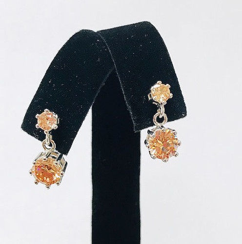 Champagne Topaz Double Crystal Drops Silver
