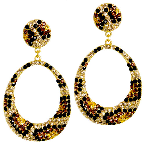 Leopard Patterned Crystal Hoops