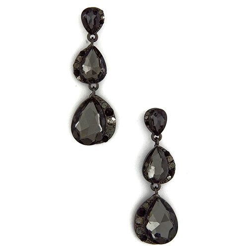 Triple Black Diamond Crystal Earring