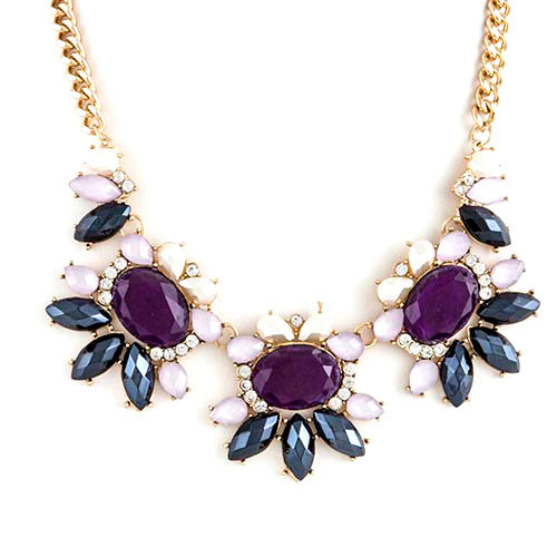Purple Blossom Trio Necklace