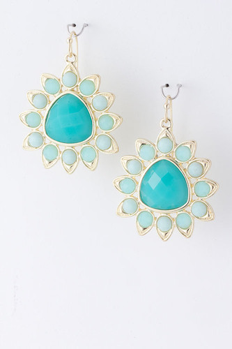 Turquoise Sunburst Dangle Earring