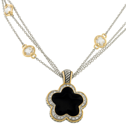 Black Flower Pendant Necklace
