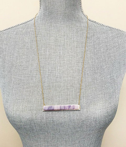 Semi-Precious Purple Quartz Stone Bar Necklace
