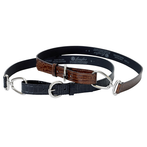Brown-Croc-Embossed Looped Belt