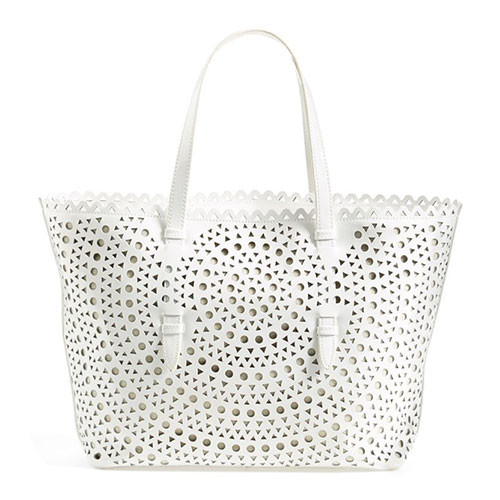 Sondra Roberts White Perforated Leather