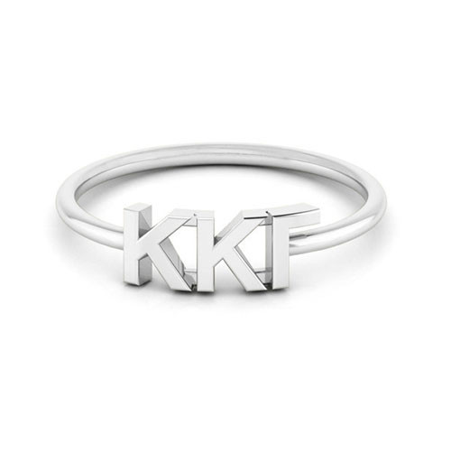 Kappa Kappa Gamma Silver Thin Band Letter Ring