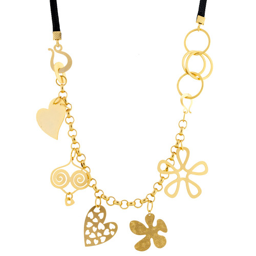 Black Woven Necklace with Gold Chain and Charms