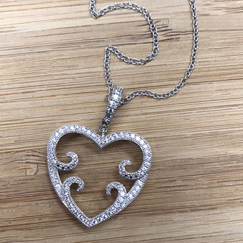 Lafonn's Smaller Filigree Open Chantily Heart Pendant