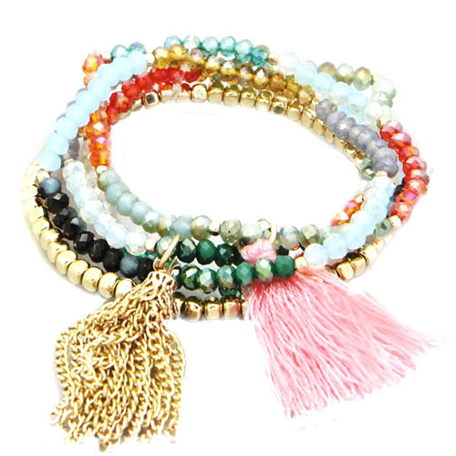Tassels and Beads Pink Trio