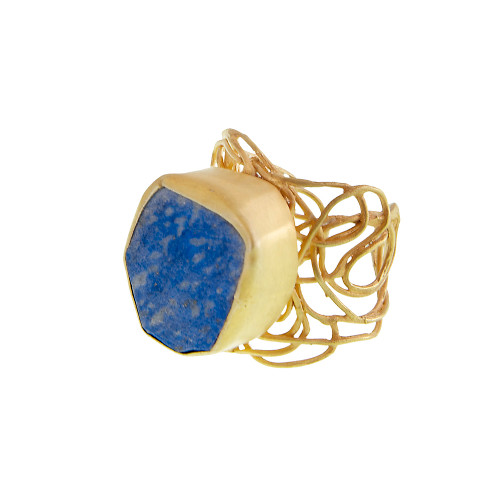Raw Lapis Gypsy-Chic Ring