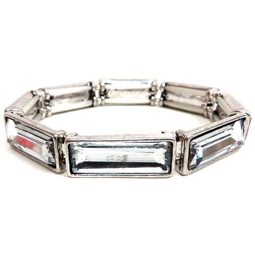 Clear Rectangular Crystal Bracelet