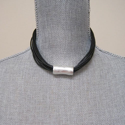 Multi Strand Black Necklace With Silver