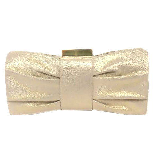 Textured Gold Metallic Bow Clutch