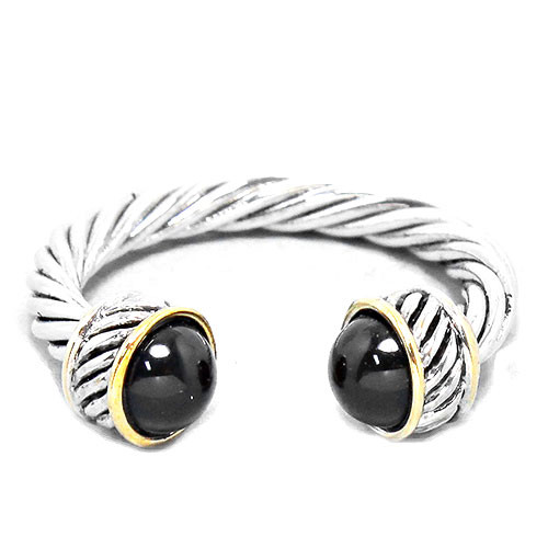Twisted Cable Ring Black