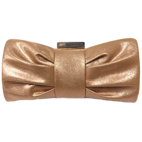Textured Bronze Metallic Bow Clutch