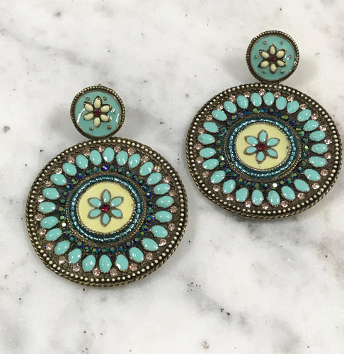 Alba Blue Medallion Earrings