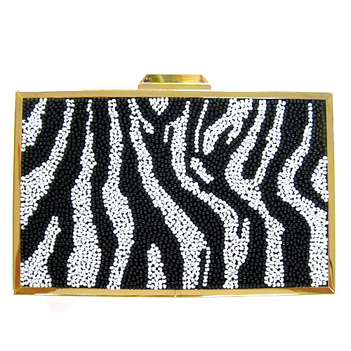 Sondra Roberts  Beaded Zebra Clutch