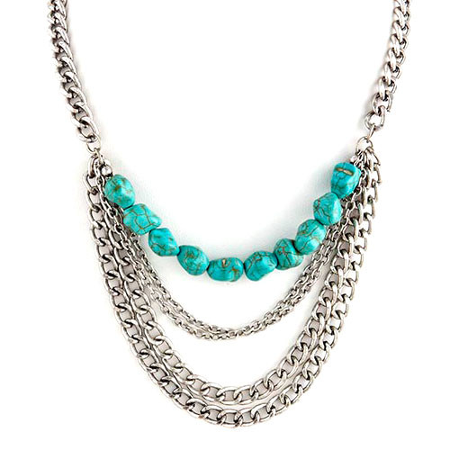 Draped Chains and Turquoise Necklace 1