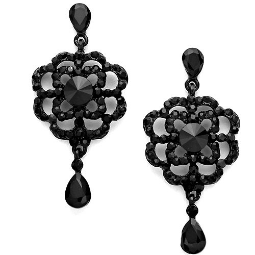 Jet Black Crystal Rose Dangle