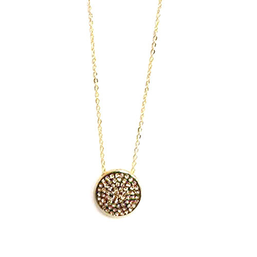 Golden Crystal Disk Necklace