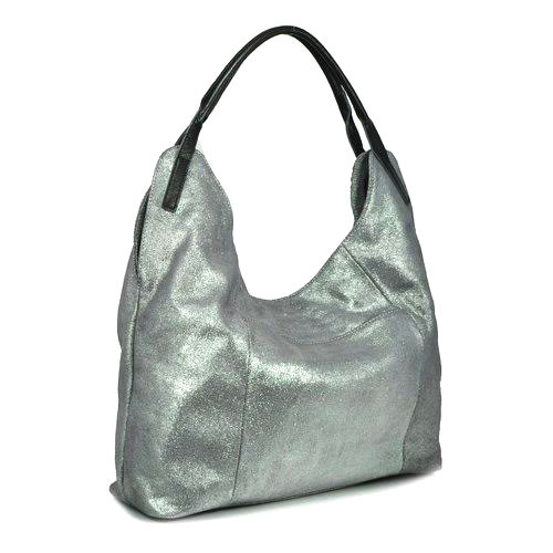 Sondra Roberts Silver Metallic Leather Shoulder Bag