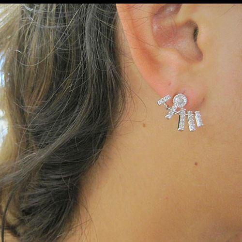 Silver Bars Front and Back Style Earring